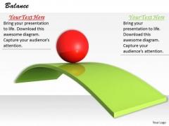 Stock Photo Red Ball Balancing On Green Slide PowerPoint Slide