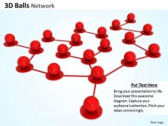 Stock Photo Red Balls In Network PowerPoint Slide