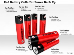 Stock Photo Red Battery Cells For Power Back Up PowerPoint Slide