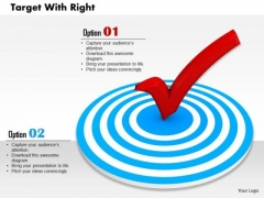 Stock Photo Red Check Symbol On Target PowerPoint Slide