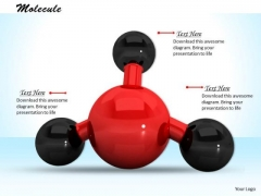 Stock Photo Red Color 3d Molecule PowerPoint Slide