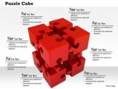 Stock Photo Red Cube Of Puzzle Pieces PowerPoint Slide