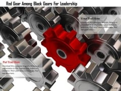 Stock Photo Red Gear Among Black Gears For Leadership PowerPoint Slide