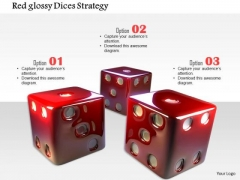 Stock Photo Red Glossy Dices Strategy PowerPoint Slide