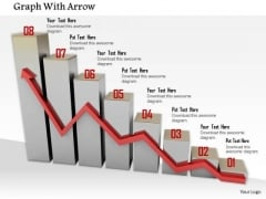 Stock Photo Red Growth Arrow On Bar Graph PowerPoint Slide