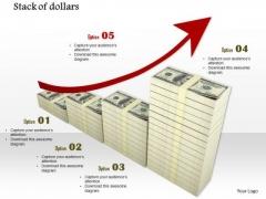 Stock Photo Red Growth Arrow On Dollar Bundles PowerPoint Slide