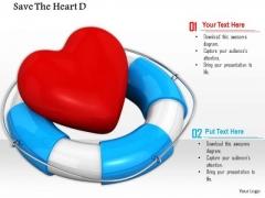 Stock Photo Red Heart Symbol In Lifesaving Belt PowerPoint Slide