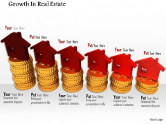 Stock Photo Red House Icons On Gold Coins PowerPoint Slide