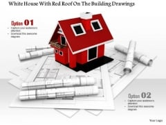 Stock Photo Red House Model With Building Drawings PowerPoint Slide