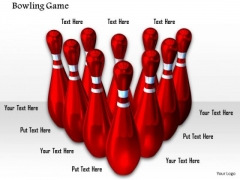 Stock Photo Red Pins For Bowling Game PowerPoint Slide