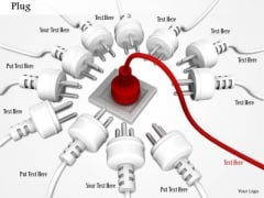 Stock Photo Red Plug In Center Of White Plug With Socket PowerPoint Slide