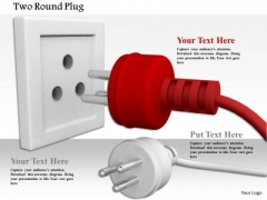 Stock Photo Red Plug Leading Ahead Towards Socket PowerPoint Slide
