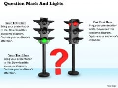 Stock Photo Red Question Mark In Between Traffic Lights PowerPoint Slide