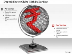 Stock Photo Red Rupee Symbol Over Globe Economy Concept PowerPoint Slide