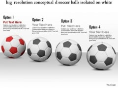 Stock Photo Red Soccer Ball Leading Other Balls PowerPoint Slide