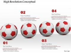 Stock Photo Red Soccer Balls High Resolution Conceptual PowerPoint Slide