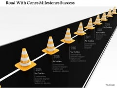 Stock Photo Road With Cones Milestones Success PowerPoint Slide