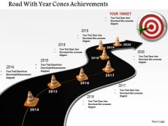 Stock Photo Road With Year Cones Achievements PowerPoint Slide