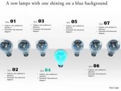 Stock Photo Row Of Lamps With One Shining PowerPoint Slide
