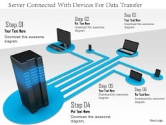Stock Photo Server Connected With Devices For Data Transfer PowerPoint Slide