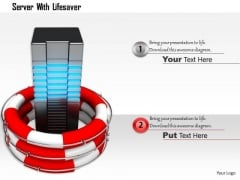 Stock Photo Server In Lifesaving Ring For Data Security PowerPoint Slide