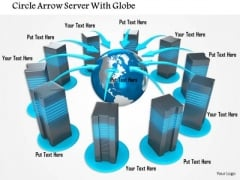 Stock Photo Servers Connected With Globe For Networking PowerPoint Slide