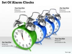 Stock Photo Set Of Alarm Clocks Ppt Template