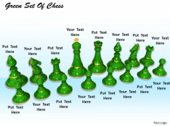 Stock Photo Set Of Green Chess Pieces PowerPoint Slide