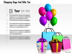Stock Photo Shopping Bags With Gifts And Balloons PowerPoint Slide