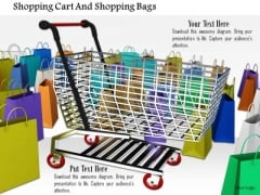 Stock Photo Shopping Cart And Shopping Bags PowerPoint Slide