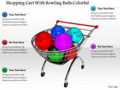 Stock Photo Shopping Cart With Bowling Balls Colorful PowerPoint Slide