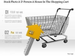 Stock Photo Shopping Cart With Home Icon Key PowerPoint Slide