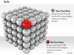 Stock Photo Silver Ball Square With Red Ball In Corner Shows Leadership PowerPoint Slide