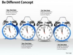 Stock Photo Silver Clocks In Line For Leadership Concept PowerPoint Slide