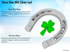 Stock Photo Silver Horse Shoe With Clover Leaf PowerPoint Slide