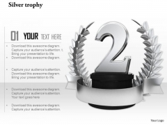 Stock Photo Silver Laurel Trophy For Winner Of 2nd Position PowerPoint Slide
