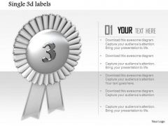 Stock Photo Silver Medal For Winner Of 3rd Position PowerPoint Slide