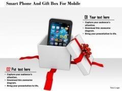Stock Photo Smart Phone And Gift Box For Mobile PowerPoint Slide