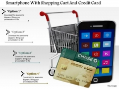 Stock Photo Smartphone-with-shopping-cart-and-credit-card PowerPoint Slide