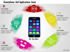 Stock Photo Smartphone And Applications Icons PowerPoint Slide