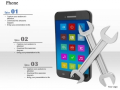 Stock Photo Smartphone Cross Wrench Tool PowerPoint Slide
