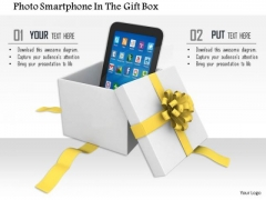 Stock Photo Smartphone In An Open Gift Box PowerPoint Slide
