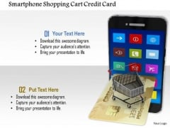 Stock Photo Smartphone Shopping Cart Credit Card PowerPoint Slide