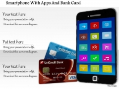Stock Photo Smartphone With Apps And Bank Card PowerPoint Slide