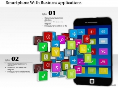 Stock Photo Smartphone With Business Applications PowerPoint Slide
