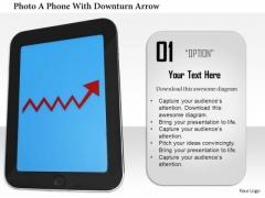 Stock Photo Smartphone With Red Upward Arrow PowerPoint Slide