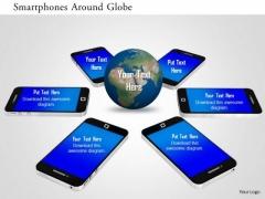Stock Photo Smartphones Around Globe PowerPoint Slide