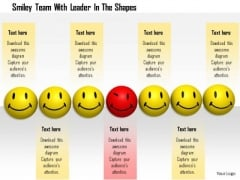 Stock Photo Smiley Team With Red Leader In Center PowerPoint Slide