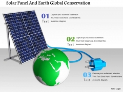 Stock Photo Solar Panel And Earth Global Conservation PowerPoint Slide
