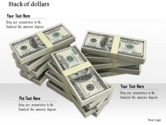 Stock Photo Stack Of American Dollar Bundles PowerPoint Slide